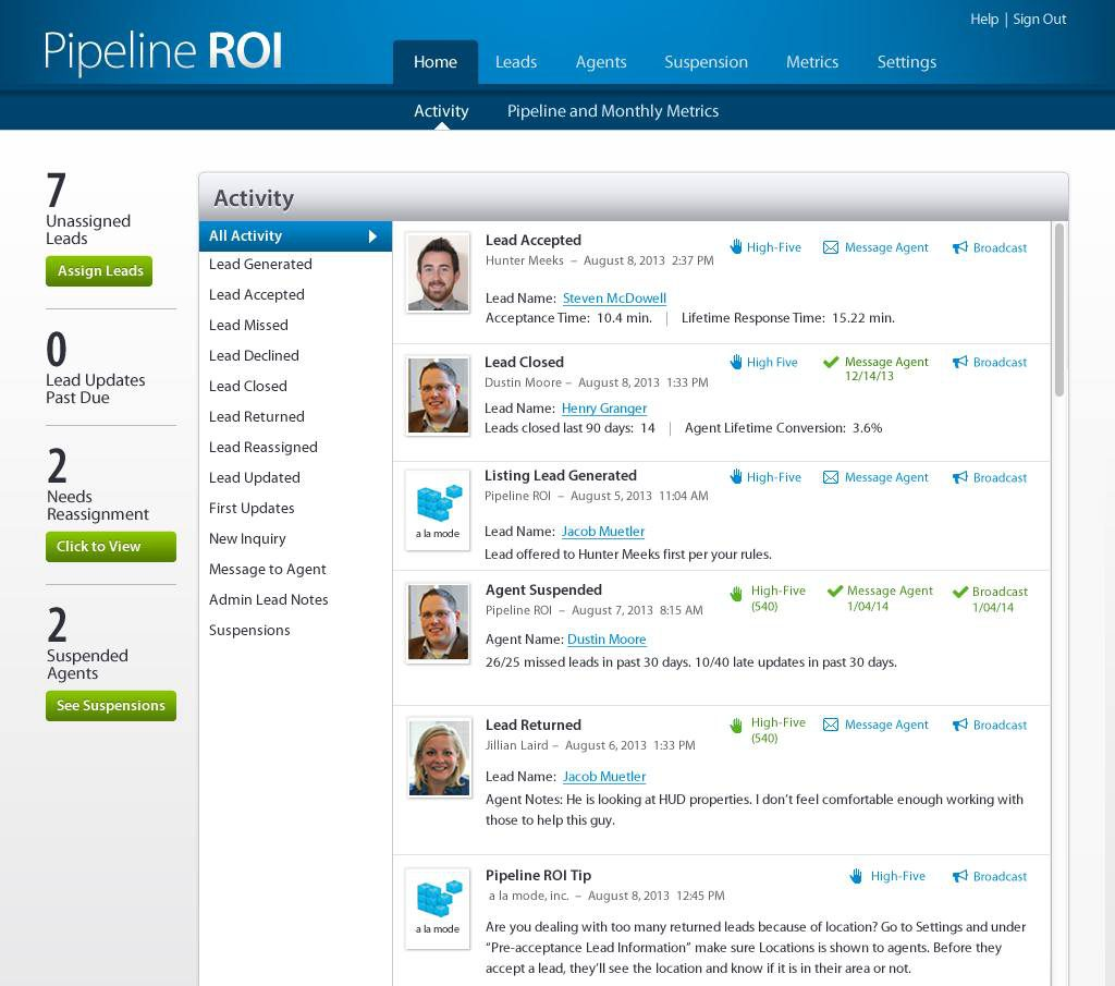Pipeline ROI Update: Activity Stream, agent leads, and new sources