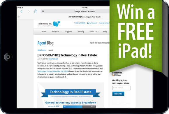 iPad giveaway for new real estate blog subscribers