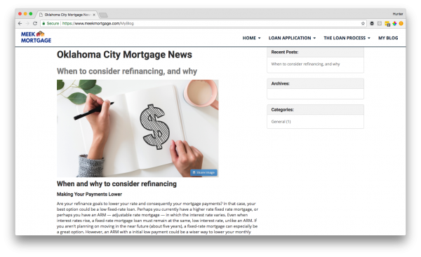 Mortgage website blog post