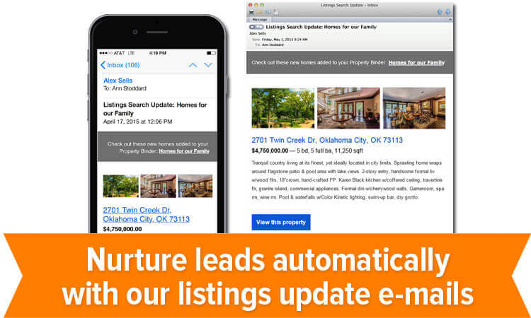 Nurture leads automatically with listings update e-mails