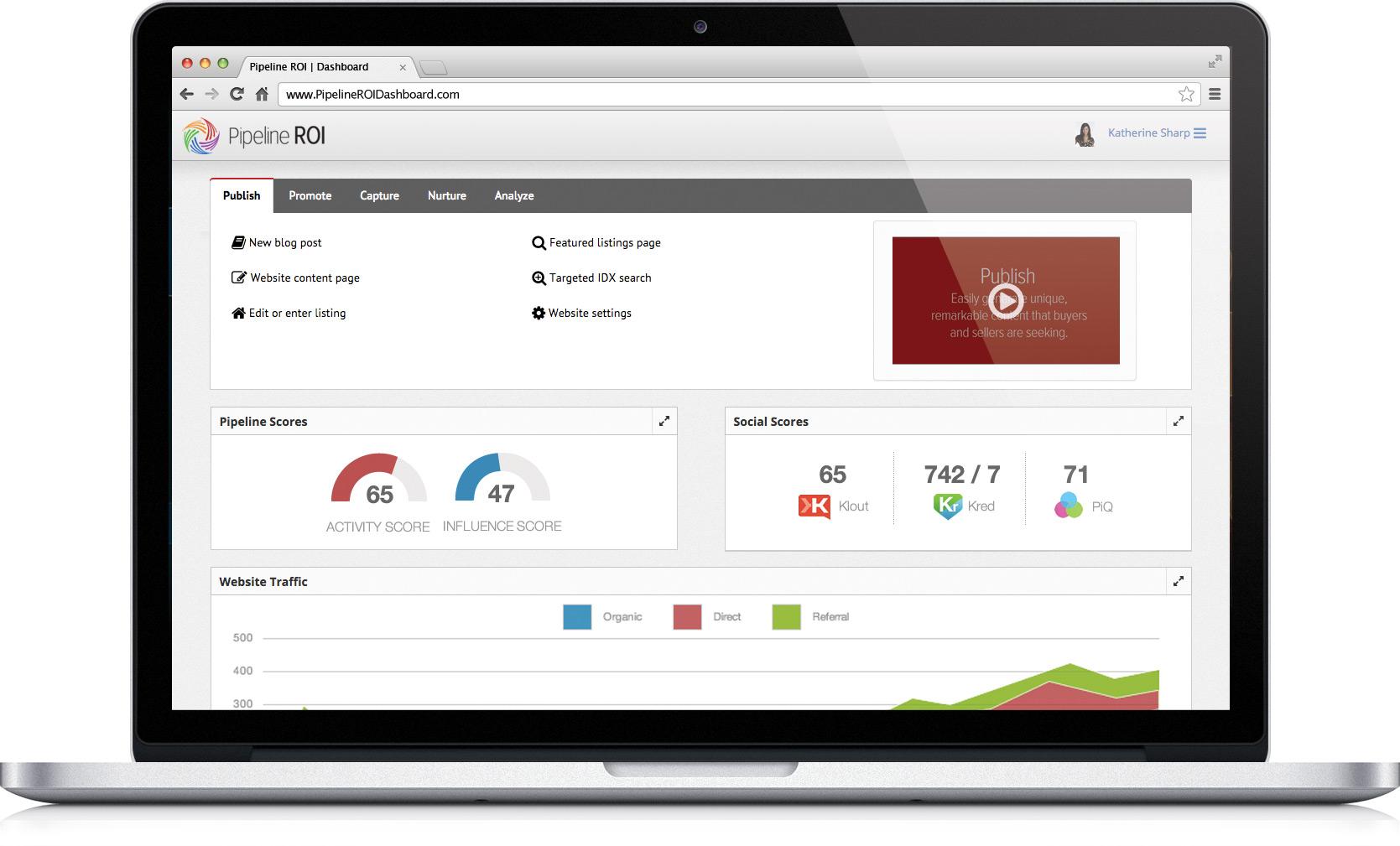 Pipeline ROI inbound marketing dashboard shown on MacBook