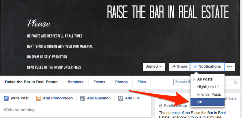 How to turn off Facebook notifications for groups