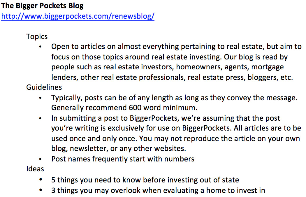 Example of notes to take when researching opportunities to guest blog