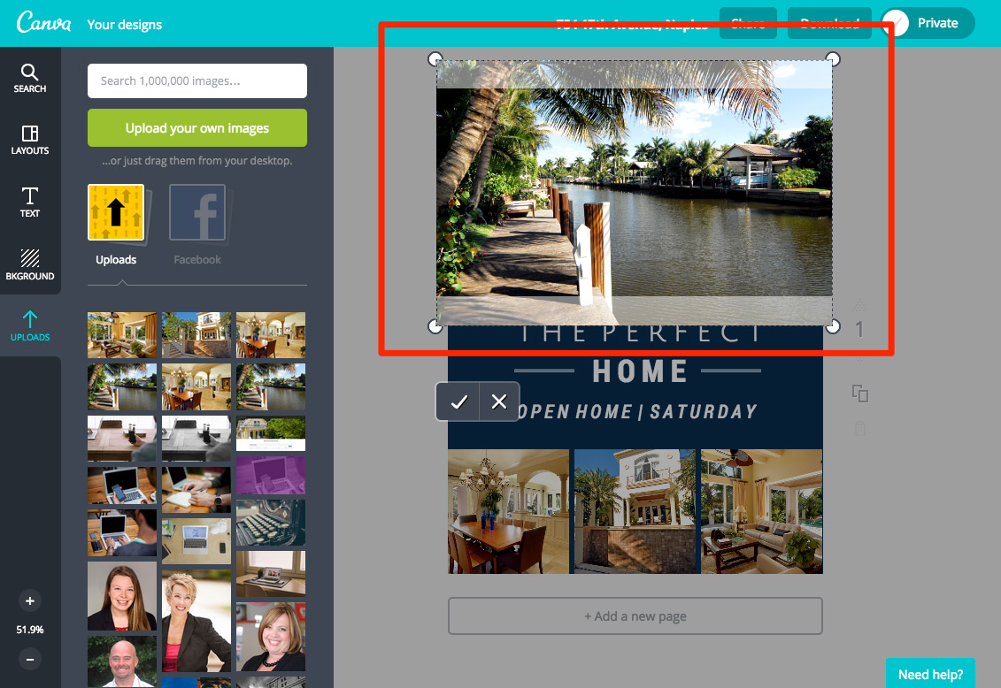 how to create stunning real estate flyers canva pipeline roi step 4 of how to create a real estate flyer in canva adding and editing