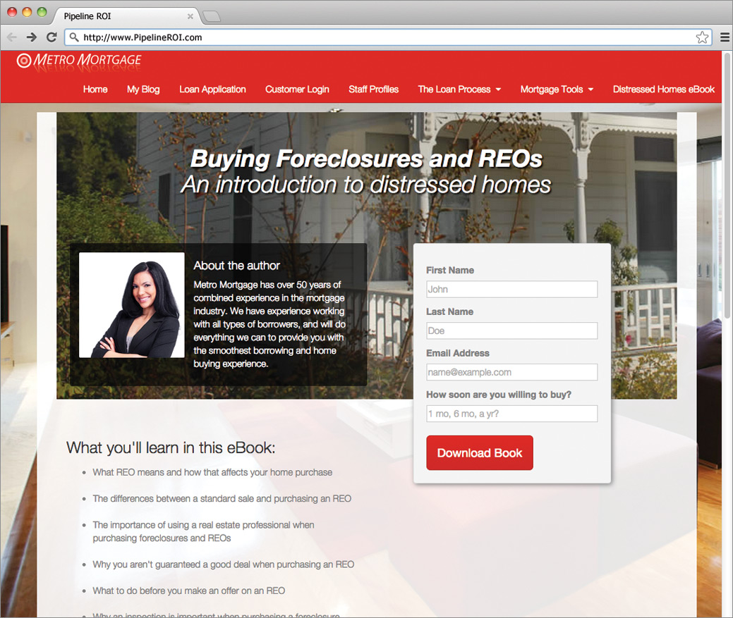 eBook landing page on a Pipeline ROI mortgage website