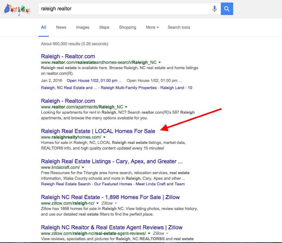Raleigh, NC realtor Google results