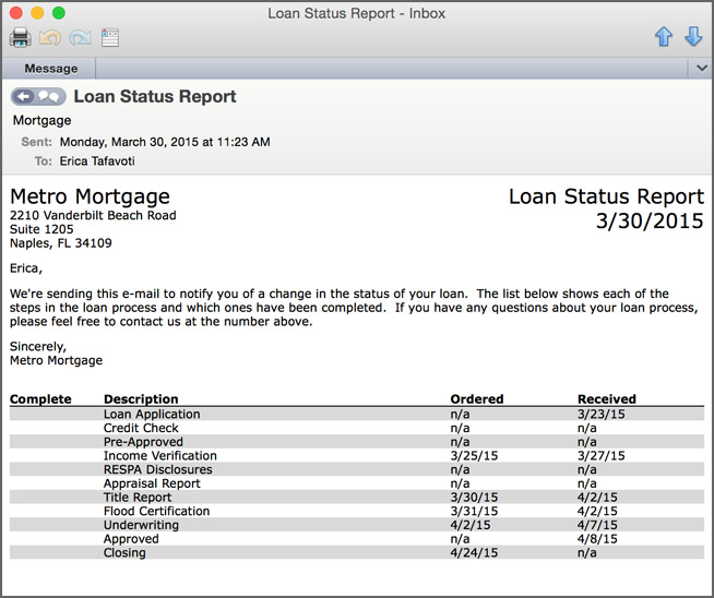 Screenshot of daily status update e-mail from pipeline roi for mortgage